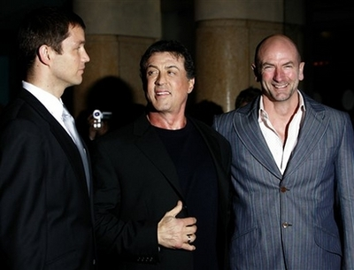 U.S. actor Sylvester Stallone arrives with actors British actors Matthew
